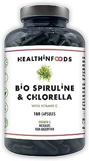 Espirulina y Chlorella Orgánicas Premium con VITAMINA C-Healthinfoods-120mg de Vitamina C-DETOX-Vegano-Saciante-Hierro+Calcio+Proteínas-Contribuye al Sistema Inmune-2 a 6 meses-180 cápsulas