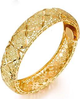 24 كيلو ذهبي اللون للنساء مفرقات للنساء مقاس واحد منحدر منحوتان مزين بذهب أسود