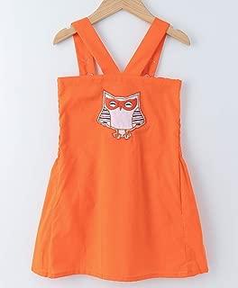 Mish Organic MSH029 Orange owl Patch Smocking Dress only for Girls Toddler Casual Summer Organic Cotton Sleeveless Comfortable