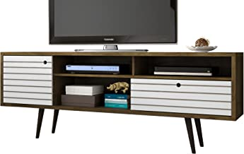 Manhattan Comfort Liberty Collection Mid Century Modern TV Stand With Three Shelves, One Cabinet and One Drawer With Splay...