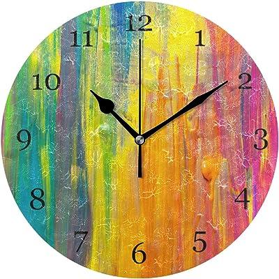 BIGJOKE Reloj de pared con colorido, diseño de corbata, funciona ...