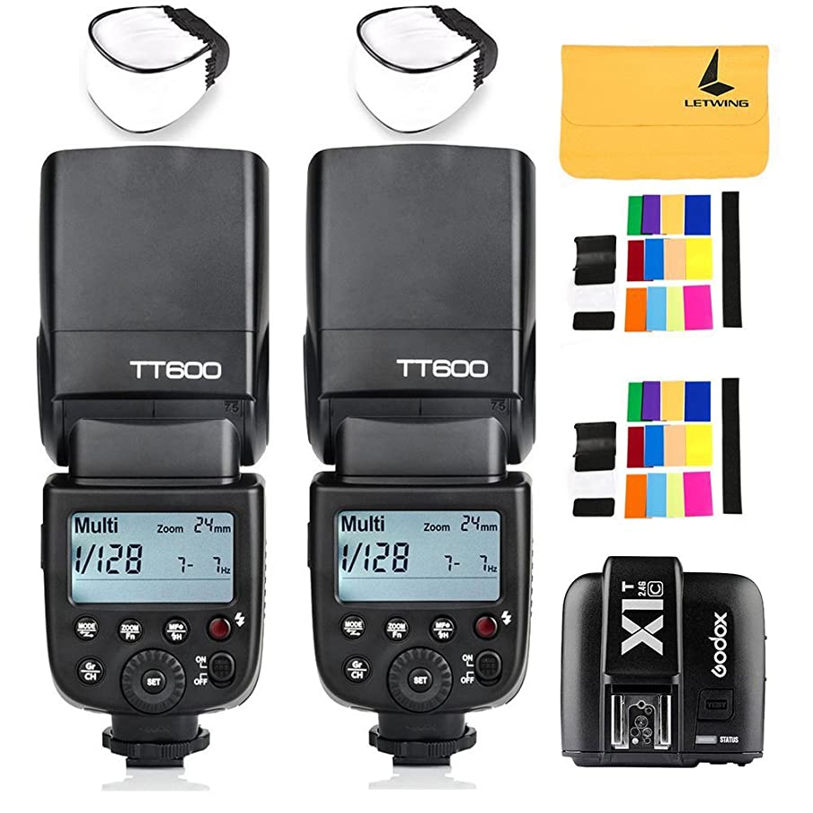 GODOX TT600 2.4G Wireless 2X Camera Flash Speedlite,GODOX X1T-C Wireless Transmitter for Canon EOS Series Cameras,2X Diffuer,2X LETWING Color Filter