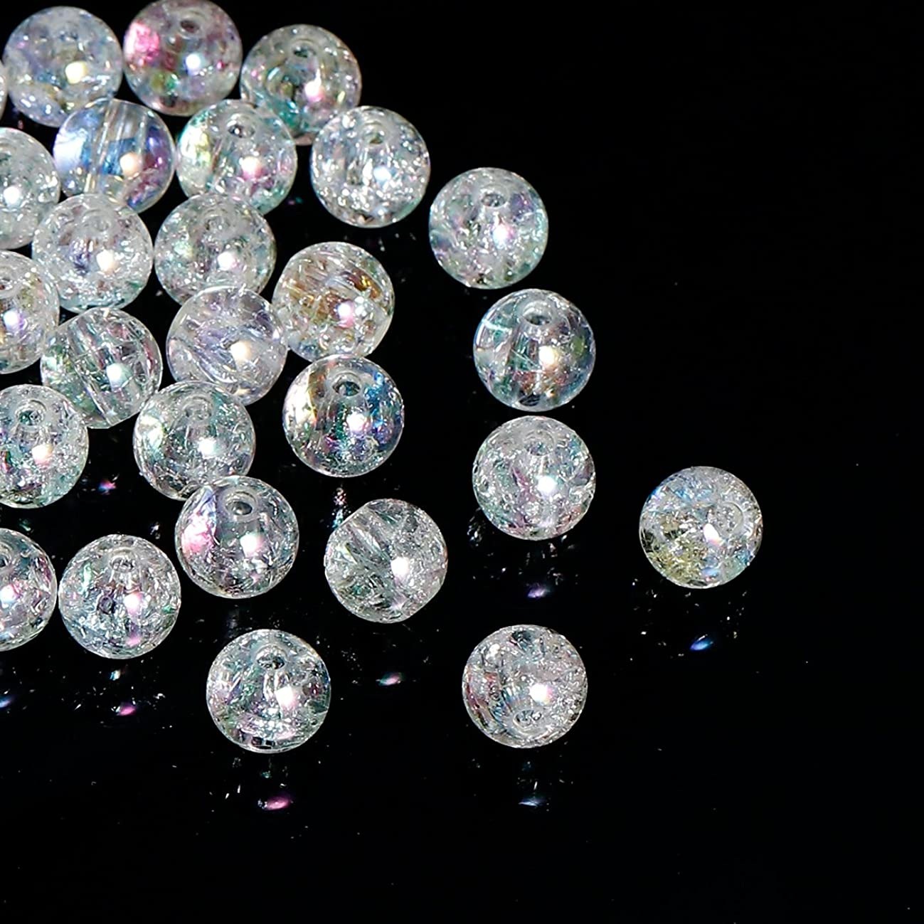 600 Acrylic Round Clear Crackle AB Spacer Beads 8mm or 3/8 Inches with 2mm Hole