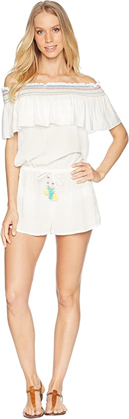 Crystal Cove Off the Shoulder Romper Cover-Up