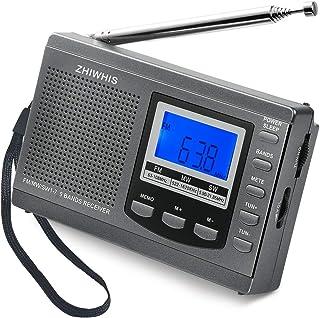 ZHIWHIS ラジオ 小型ポータブル FM/AM/SW ワイドfm対応 高感度受信クロックラジオ スピーカーとイヤホン付き タイマー機能 USB電池式 横置き型 (グレー)