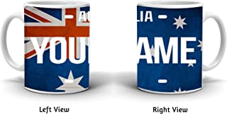BRGiftShop Personalize Your Own License Australia Flag Country Plate 11oz Coffee Mug