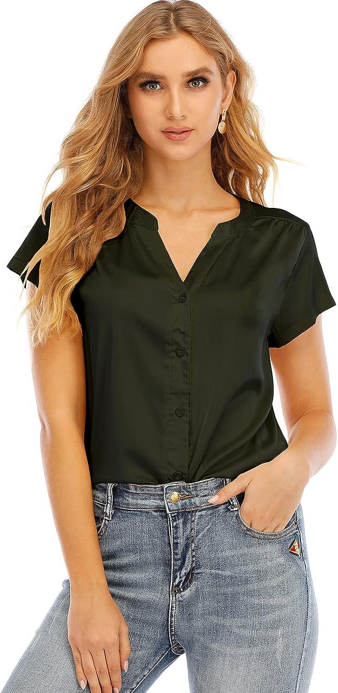 ouslee Women's Short-Sleeve Satin Blouse V Neck Silk Button Down Shirts Tops for Women