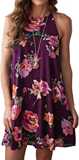 MITILLY Women's Halter Neck Boho Floral Print Loose Casual Sleeveless Short Dress
