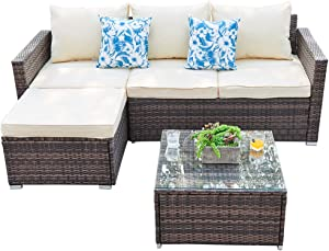 Outdoor Sectional Furniture Sofa Set 3 Piece All-Weather Brown Wicker Furniture, Beige Seat Cushions & Glass Coffee Table| Patio, Backyard