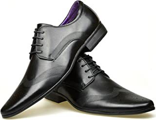 Fashion Planet Mens Leather Lined Smart Wedding Lace Up Brogues Formal Dress Oxford Shoes Size 7-12