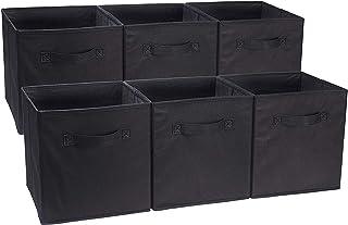 AmazonBasics - Cubos de almacenamiento plegables (pack de 6) Negro