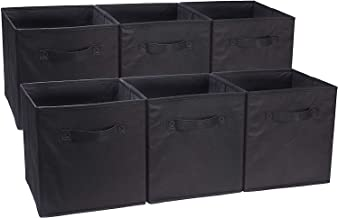 AmazonBasics Collapsible Fabric Storage Cubes Organizer with Handles, Black - Pack of 6