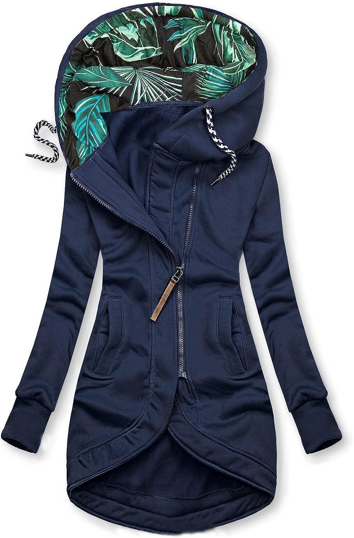 YRAETENM Oversized Zip Up Hoodie Long Sleeve Tops High Neck Jacket Pockets Plus Size Winter Loose Coats