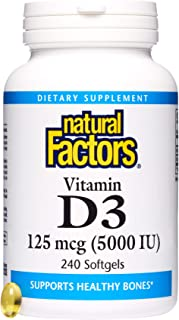 Natural Factors, Vitamin D3 5000 IU, Supports Strong Bones, Teeth, and Muscle and Immune Function with Flaxseed Oil, 240 s...