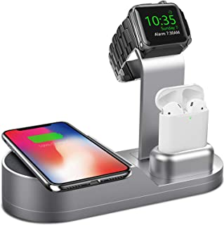 Deszon Wireless Charger Designed for Apple Watch Stand Compatible with Apple Watch Series 5 4 3 2 1, AirPods Pro Airpods and iPhone 11 11 pro 11 Pro Max Xs X Max XR X 8 8Plus (No Adapter) Space Gray
