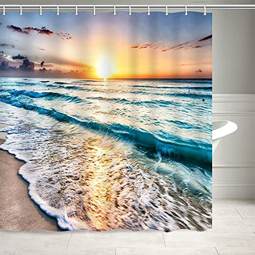 Modern Architecture Design Glass View of the Ocean Sand Shore Shower Curtain Set