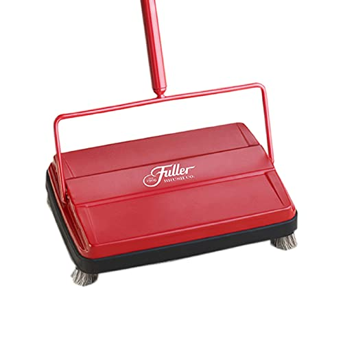 Black Leifheit 11410 Classic Manual Rotaro Carpet Sweeper with Natural Brushes