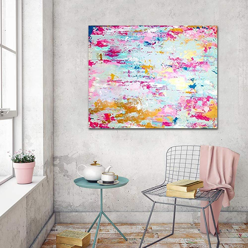 Hand made Modern Abstract Pink Ab Leaf NEW Painting Ranking TOP9 Gold