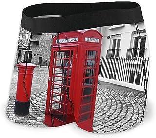 Calzoncillos de Boxeo de Cabina telefónica roja Americana Ropa Interior de algodón Suave Transpirable sin Ride para Hombres L