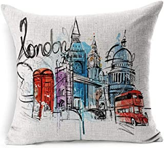 Ahawoso Linen Throw Pillow Cover Square 20x20 UK Blue Drops Painting Visiting London Abstract Red Sketch Vintage Bus Travel Sightseeing Taxi Metropolis Guard Pillowcase Home Decor Cushion Pillow Case