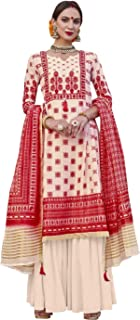 Attractive Cream & Red Palazzo Style Suit