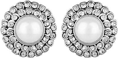 Efulgenz - Set di orecchini a perno in stile indiano ossidato, stile boho, stile tribale, con perle finte e strass