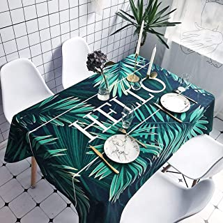 Simple Modern kitchen/home tools Palm Leaves Pattern Waterproof Anti-scalding Rectangle Cotton and Linen Table Cloth, Simp...