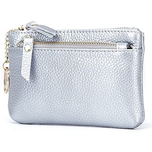 c4e2c313b Lecxci Women's Small Real Leather Zipped Coin Change Purse with Key Ring  Card Case Wallet Key