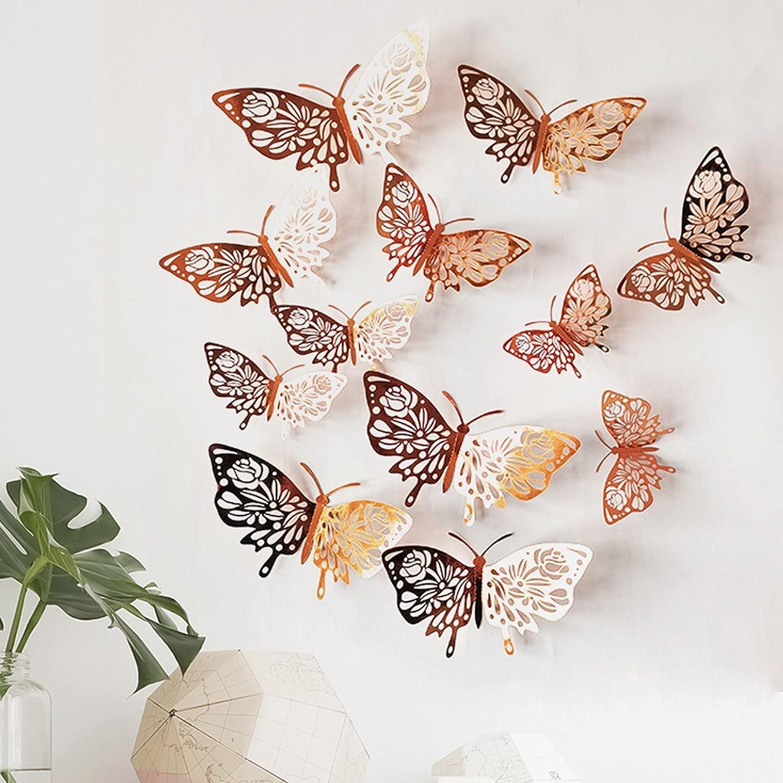 Shavanpark Creative 12PC Ranking TOP10 3D Hollow Butterfly Wall Dedication 3 Sizes Décor