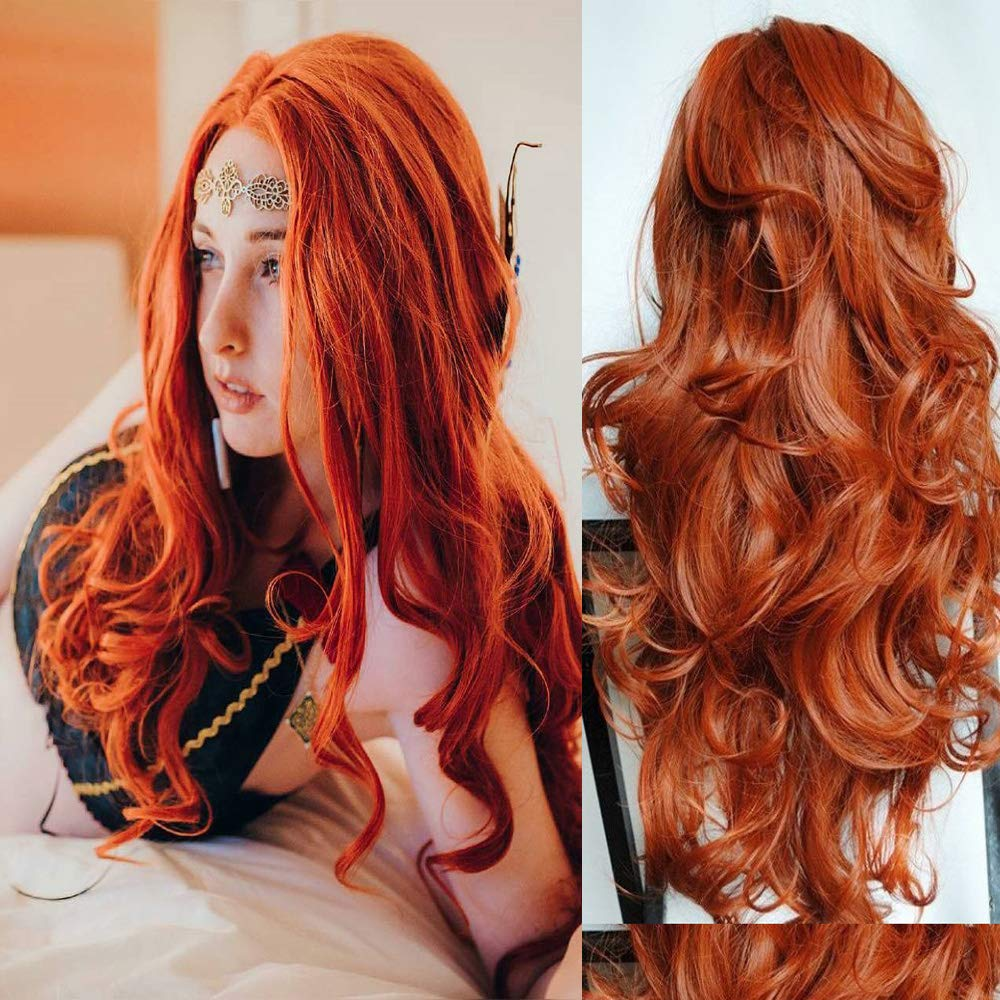 Xiweiya Orange Popular product Red Long Max 76% OFF Wavy Synthetic Heat Wig With Lace Front