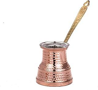 Erotto Cafetera turca – Cafetera moka – Cocina Ibrik-Cezve – Cafetera de cobre con diseño antiguo (5 – 6 porciones)
