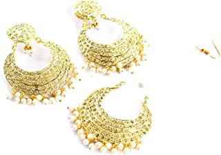 Gold Jadau Bridal Pearl Punjabi Muslim Indian Earrings Tikka Wedding jewelry Set