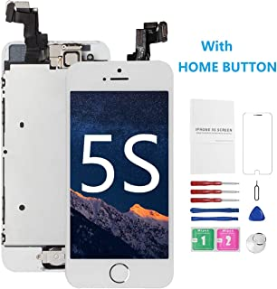 for iPhone 5S Screen Replacement White with Home Button, Mobkitfp i5S Glass LCD Display Digitizer Touch Replacement Screen for A1533, A1530, A1453, A1457, Full Assembly with Camera, Repair Tool Kits