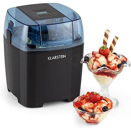 Klarstein Creamberry Machine à glace 4 en 1 (pour glaces, frozen yoghurts, milkshakes ou stockage de boissons fraiches, bac isotherme 1,5L, préparation en 20min) - noir
