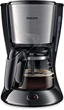 Philips HD7435 Cafetera Goteo, Color Negro y Metal, 700 W, 6 Cups, plástico, Gris