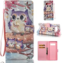 Case for Galaxy Note 8/N950,Slim Flip 3D Printing [Kickstand] Card Holder Pu-Leather Wallet Case Inner Soft Bumper [Shock Absorbent] with Wrist Strap Compatible with Samsung Galaxy Note 8/N950 -Birds