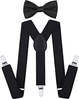 Child Kids Suspenders Bowtie Set - Adjustable Suspender Set for Boys and Girls