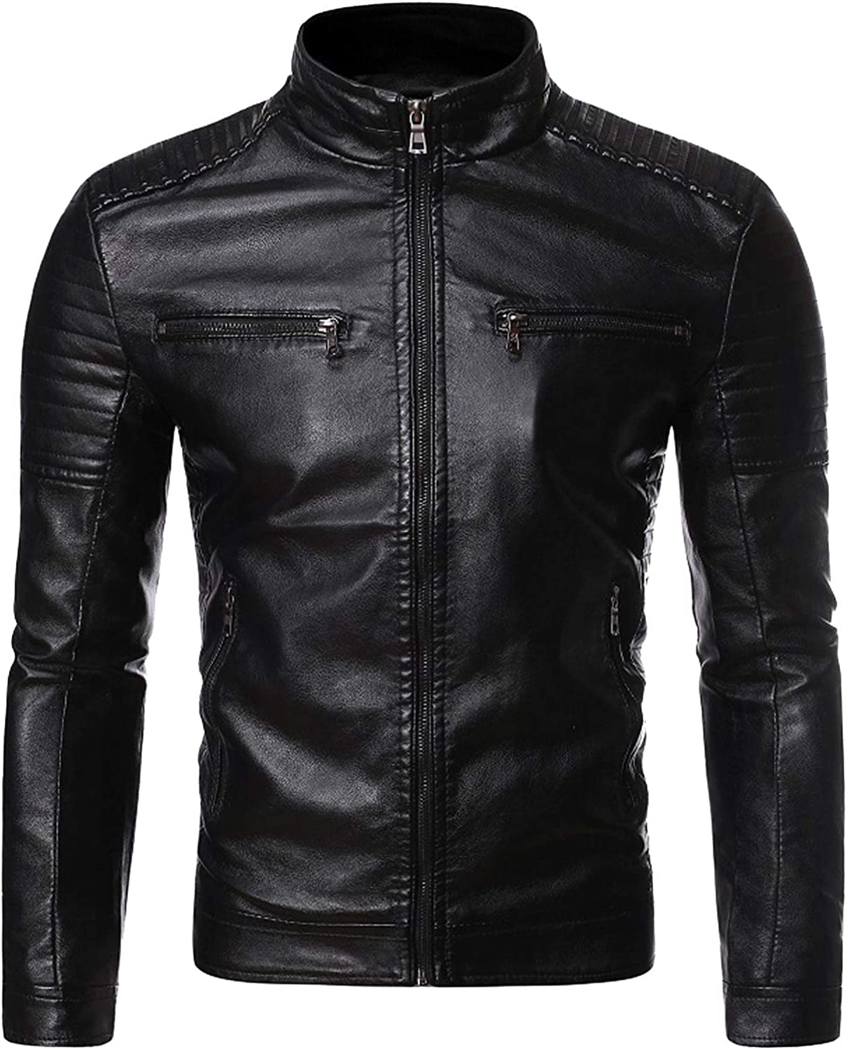 Beshion Leather Jacket for Men Motorcycle Club Casual Stand Collar Outwear Coat Faux Slim Fit Zipper up Jakcet with Pocket