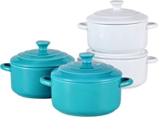 Bruntmor 8.5oz Oven Safe Mini Cocotte Ceramic Ramekins For Baking, Mini Casserole with Lid, Souffle Dish, 2 White & 2 Teal