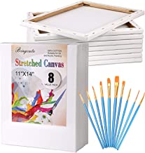 "Canvas Boards for Painting 11x14, Pre Stretched Canvas Blank White Value Pack of 8 Primed Canvases Panels 5/8"" Thick 100% ..."