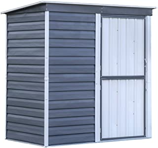 Arrow Shed SBS64 Shed-in-a-Box Compact Galvanized Steel Storage Shed with Pent Roof, 6'x4', Charcoal