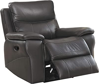 Benjara Contemporary Recliner Chair with Contoured Seat, Gray