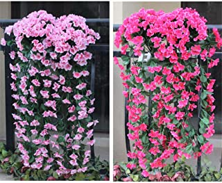 GotianHanging Flowers Artificial Violet Flower Wall Wisteria Basket Hanging Garland Vine Flowers Fake Silk Orchid, Decro Your House Garden (Pink)