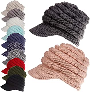 Ponytail Messy Bun Womens Beanie Ribbed Hat Cap Hats & Caps (Color : Bronze)