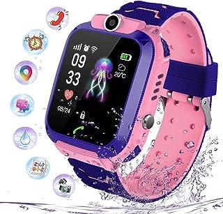 PTHTECHUS Niños Smartwatch Impermeable, Reloj Inteligente Phone con LBS Tracker SOS Chat de Voz Cámara Despertador Juego Cálculo para Regalos Estudiantes Compatible con iOS Android, (Rosa)