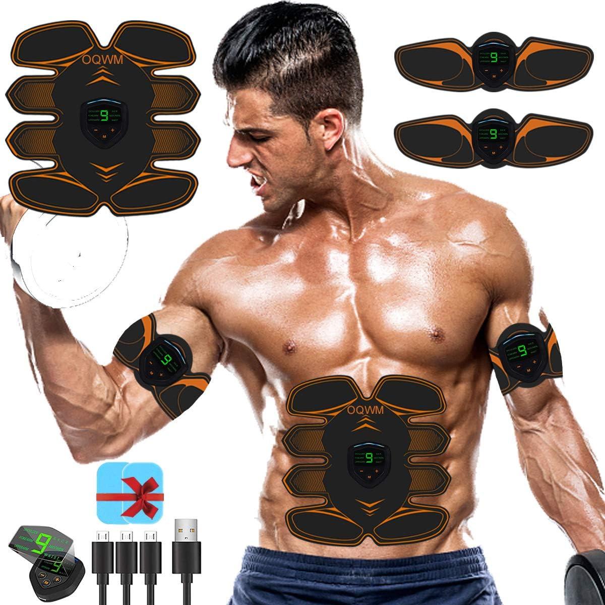 8 Pads EMS Abdominal Muscle Toning Trainer ABS Stimulator Toner Fitness Belt Gym
