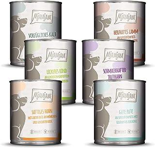 MjAMjAM - Pienso acuoso para Perros - Mix Pack II 1* Pollo & Pato, 1* Ternera, 1* Pavo y arroz, 1* Ternera con calabacín, 1* Pavo y Zanahorias, 1* Cordero 6 x 800 g