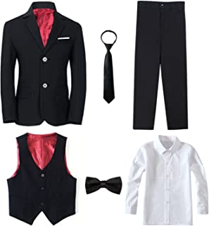 Yanlu Boy's Tuxedos Toddler Formal Suits Set Kids Blue Black Slim Fit Suit Weddings