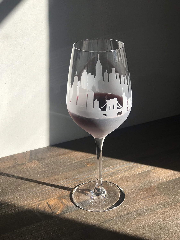 Gorgeous New York City Skyline Stemmed Wine - of Panorama Glasses 2 set OFFer