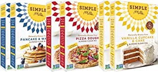 Simple Mills Almond Flour Mix Variety Pack, Pancake & Waffle, Pizza, Vanilla Cake, 10.4 Ounce, 6 Count, Combo 2